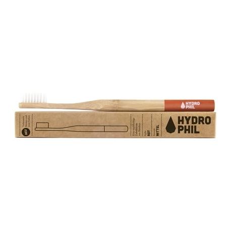 Brosse à dents adultes HYDROPHIL en bambou bague rouge- médium